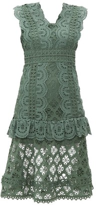 Sea Laurel Ruffle Trimmed Crochet Midi Dress - Womens - Khaki