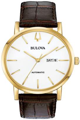 Bulova Men's Classic Automatic Brown Leather Strap Watch