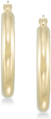 Signature Gold Diamond Accent Polished Hoop Earrings in 14k Gold over Resin