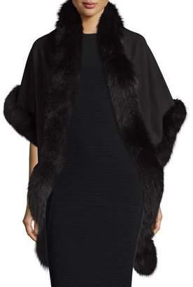 Sofia Cashmere Cashmere Fox-Trim Shawl, Black