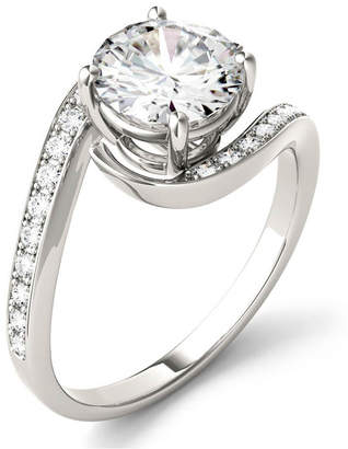 Charles & Colvard Moissanite Round Swirl Engagement Ring (1-3/4 ct. t.w. Diamond Equivalent) in 14k White Gold