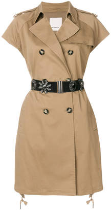 Pinko short sleeve trench coat with gemstone embellished belt