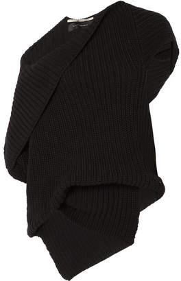 Roland Mouret Moran One-shoulder Draped Ribbed Cotton Sweater - Black