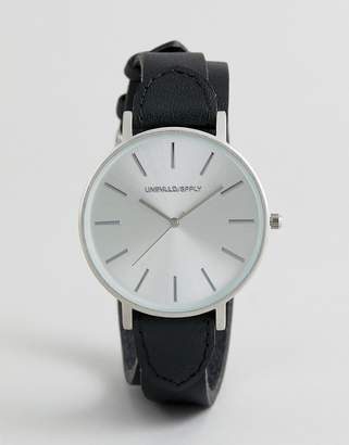 Asos DESIGN leather double wrap watch in black