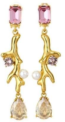 Oscar de la Renta Black Diamond Crystal Earrings