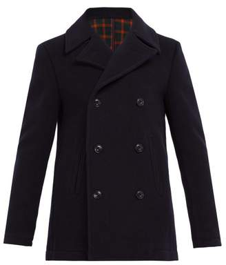 Altea Double Breasted Wool Blend Peacoat - Mens - Navy