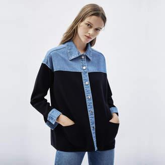 Sandro Dual Material Jacket Style Cardi-Coat