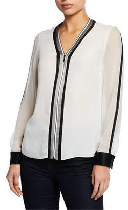 2494530e51e0 Elie Tahari Vallie Zip-Front Long-Sleeve Blouse with Contrast Trim & Cuffs