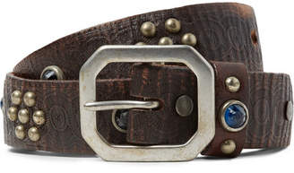 RRL 3cm Dark-Brown Embellished Leather Belt