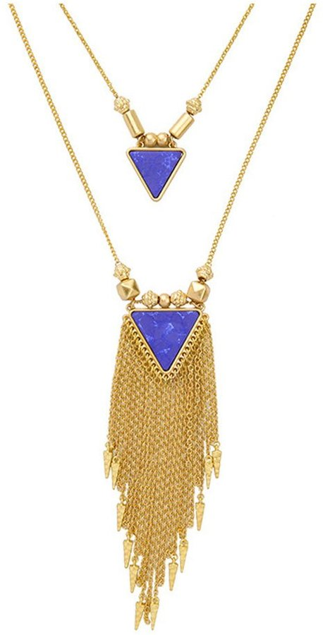 CHIC JEWELRY ZMJ Bohemian Tassel Pendant Long Statement Necklace Women Jewelry Triangle(J-SN366)