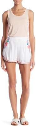 Romeo & Juliet Couture Floral Neon Woven Shorts