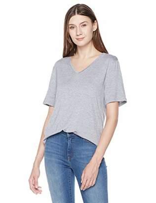 A.Dasher Women's Jersey Wide V-Neck Slouchy Boyfriend Fit Short Sleeve High-Low T-Shirt Top
