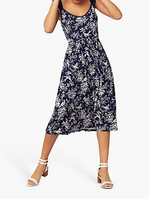 Oasis Bernie Bird Midi Dress, Blue