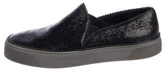 Stuart Weitzman Distressed Patent Leather Low-Top Sneakers