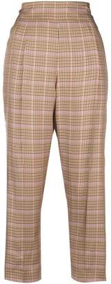 No.21 checked paperbag trousers