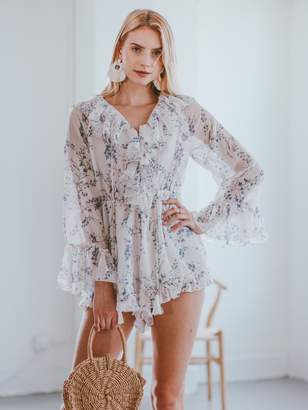 Goodnight Macaroon 'Florence' Ruffle Floral Sheer Romper