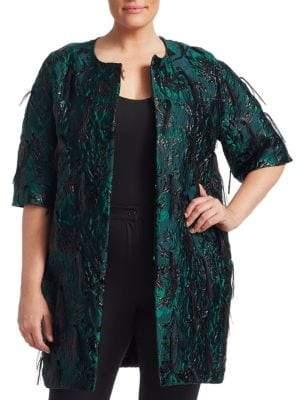 Marina Rinaldi Marina Rinaldi, Plus Size Elegante Nicosia Jacquard Fringed Coat