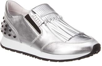Tod's Fringed Metallic Leather Slip-On Sneaker