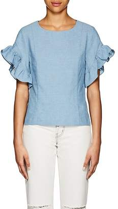 Barneys New York WOMEN'S RUFFLE COTTON-LINEN TOP