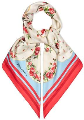 Dolce & Gabbana Plate And Floral Print Silk Twill Scarf - Womens - Pink
