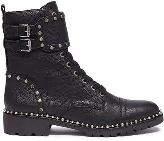 Sam Edelman 'Jennifer' buckled strap ball chain leather combat boots
