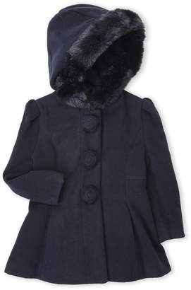 Rothschild (Toddler Girls) Faux Fur Trim Hooded Coat