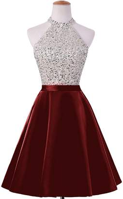 ANFF Women's Cheap Homecoming Dress Beaded Bodice Short Prom Party Formal Dress