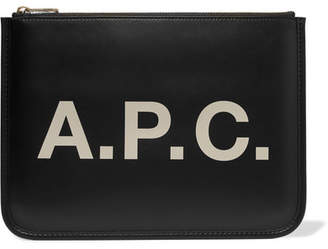 A.P.C. Morgane Printed Faux Leather Pouch - Black