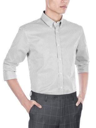 Verno Mens Slim Fit Long Sleeve Black and White Stripe Dress Shirt