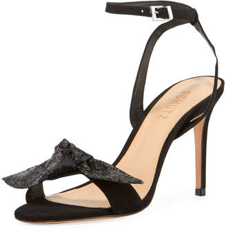 Schutz Anabella High-Heel Suede Ankle-Strap Sandals with Glitter Bow