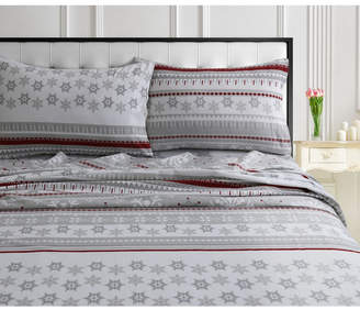 Tribeca Living Snowmitten 170-gsm Cotton Flannel Printed Extra Deep Pocket Cal King Sheet Set Bedding