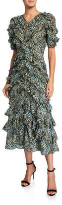 Rebecca Taylor Short-Sleeve Lynx Ruffle Long Dress