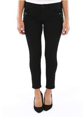 KUT from the Kloth Donna Rhinestone High Waist Ankle Skinny Jeans