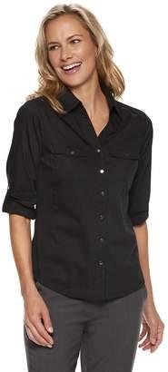 Croft & Barrow Petite Knit-to-Fit Roll-Tab Shirt