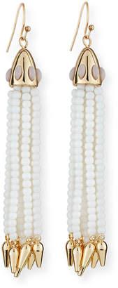 Lulu Frost Beaded White Tassel Drop Earrings
