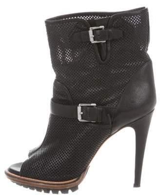 Belstaff Perforated Peep-Toe Ankle Boots Black Perforated Peep-Toe Ankle Boots