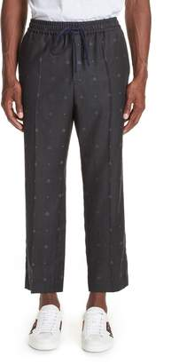 Gucci Tonal Bee Heart Wool Pants