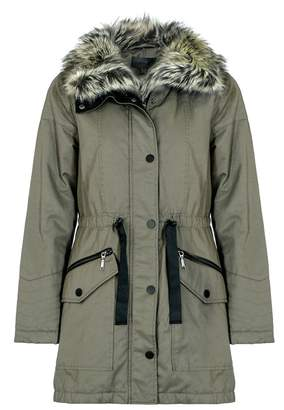 Quiz Khaki Fur Lined Collar Parka Jacket
