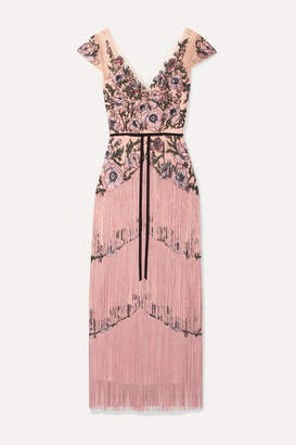 Marchesa Fringed Embellished Embroidered Tulle Midi Dress - Blush