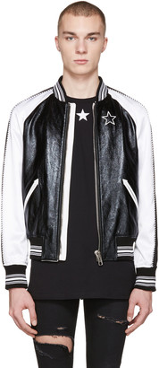 Givenchy Black Leather & Satin Bomber Jacket $3,340 thestylecure.com