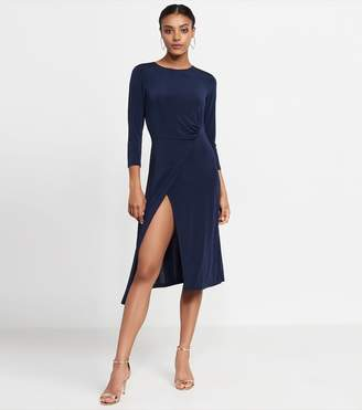 Dynamite Wrap Front Knitted Dress MARIANA BLUE