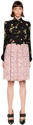 Antonio Marras Bow Collar Viscose Crepe & Lace Dress