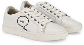 Soludos Embroidered Speech Bubble Leather Sneakers $109 thestylecure.com