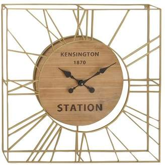 3.1 Phillip Lim DecMode Decmode Modern X Inch Wood And Metal Kensington Wall Clock, Gold