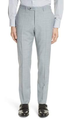 Canali Kei Flat Front Solid Wool Trousers