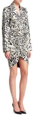 Roberto Cavalli Satin Ruched Leopard Print Sheath Dress