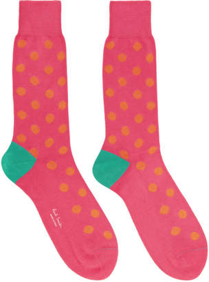 Paul Smith Pink and Orange Bright Spot Socks