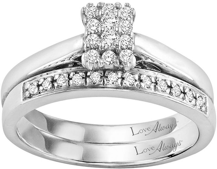 Love Always Round-Cut Diamond Engagement Ring Set in Sterling Silver (1/4 ct. T.W.)