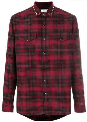 Valentino Rockstud trim plaid shirt