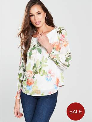 Wallis Shirred Cuff Blouse - Ivory/Floral